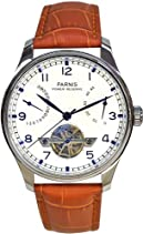 PARNIS Automatikuhr Modell 2037, mit SeaGull-Uhrwerk, Kalbslederarmband, Herrenuhr mit offener Unruhe, doppelseitig verglast