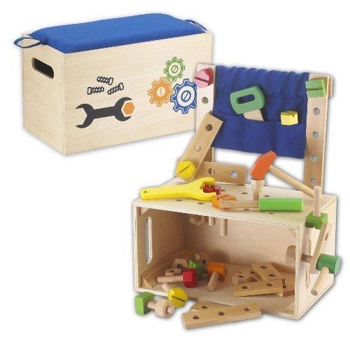 Kids Toy 108009 - Werkbank, Werkzeugbank, Werkzeugkiste mit Werkzeuge aus Holz
