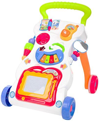 Fillikid Spiel- und Laufwagen Auto Exclusiv | 2-in-1 Lauflernwagen mit Flüsterreifen | Lauflernhilfen mit Babyspielzeug & Motorikspielzeug & Kleinkindspielzeug | Walker mit abwischbarer Zeichentafel