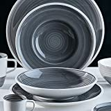 Villeroy & Boch Manufacture Gris Suppenteller, 25 cm, Premium Porzellan, Grau