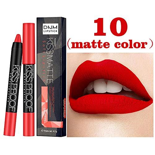 12 Schattierungen Lippenstift Huihong DNM Matte Kürbisfarbe Lippenstift Essen Erde Reich Vitamin E Feuchtigkeitsspendende Wasserdichte Lipgloss (Sexy-10)