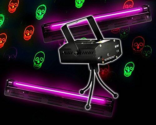 Gleitern UV Röhren Neon + Spiel Light Rot/Grün Skulls von (Halloween-pack)