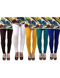 Anekaant Pack Of 5 Cotton Lycra Free Size Women's Legging -Brown, White, Gold, Dark Green, Blue