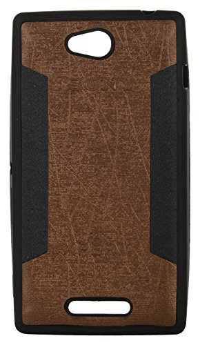 iCandy™ 2 Color Soft Lather Finish Back Cover For Sony Xperia C S39H C2304 - Golden  available at amazon for Rs.119