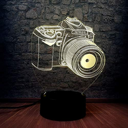 Neuheit Kamera 3D Led Lampe Farbwechsel Fotografie Enthusiasten Geschenk Souvenir Ausstellung Nachttisch Tischlampe Schlafzimmer Dekor (Souvenir Disney)