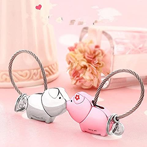 Ruesious Sweet Kiss Pigs Keychain with Magnetism one pair Valentine