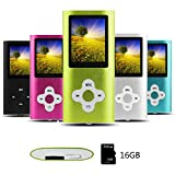 Btopllc Lettore MP3, lettore MP4, lettore musicale digitale Scheda di memoria interna da 16GB,lettore multimediale, lettore video - Verde
