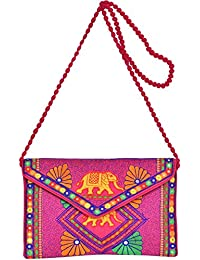 Exotic India Embroidered Clutch Bag With Front Flap