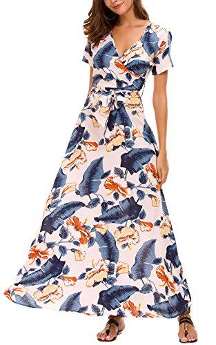 KorMei Damen Blumen Maxikleid Bohemien Lang Kleider Boho Sommerkleid Strandkleid Party Apricot L