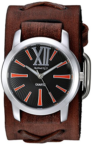 Nemesis Women's 'Roman Series' Quartz Stainless Steel and Leather Automatic Watch, Color:Brown (Model: BFXB065KN)
