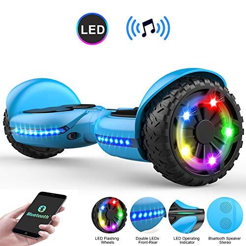 COLORWAY Hoverboard Flash-Rad Balance Elektro Scooter Roller EU Sicherheitsstandard, mit Bluetooth Lautsprecher und LED-Lichter (Q3 blau)