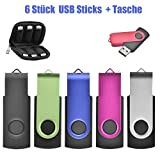 32GB USB-Stick 6 Stück USB Stick 2.0 Speicherstick Memory Stick (6 Mischfarben & Tasche)