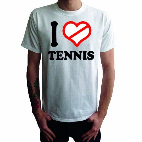 I don't love Tennis Herren T-Shirt, weiss, XXL (Schläger Agassi Tennis)