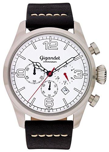 Gigandet–Reloj de pulsera hombre Daydream cuarzo cronógrafo reloj Fecha Analógico Pulsera de piel blanco y negro, G20–001