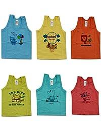 Kid's Care Cotton Printed Inner Wear Baniyan Unisex Printed Sando Vest/Brief Vest Top Undershirt for New Born Baby Boy/Girl- Pack of 6(PMP100M_Multicoloured_0-3 Months)