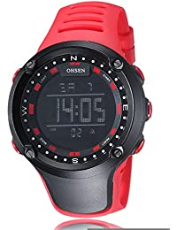 Alienwork Ohsen Reloj Digital Multi-función cuarzo Retroiluminación Poliuretano negro rojo OS.1510-4
