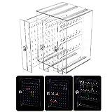 Caja Pendientes Caja Almacenamiento Joyería Transparente de Acrilico Caja Organizador Joyas Soporte Titular de Joyería Organizador Sostenedor de Pendientes Collares Multifuncional (Transparente)