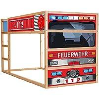 Preisvergleich für Stikkipix Feuerwehrbett Möbelfolie selbstklebend/Aufkleber - IM209 - passend für das Kinderzimmer Hochbett KURA von IKEA - Möbel Nicht Inklusive