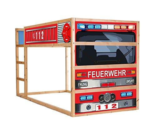 *Feuerwehrbett Möbelfolie selbstklebend / Aufkleber – IM209 – passend für das Kinderzimmer Hochbett KURA von IKEA*