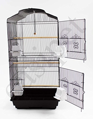 Easipet Large Metal Bird Cage for Budgie, Cockatiel, Lovebirds etc (Black) 3