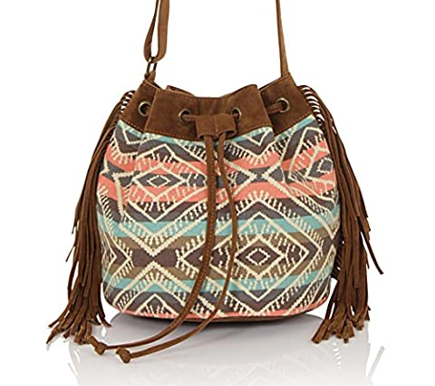 Boutique, Ladies Vintage Long Strap Bohemian Shoulder Bucket Bag, Brown Suede