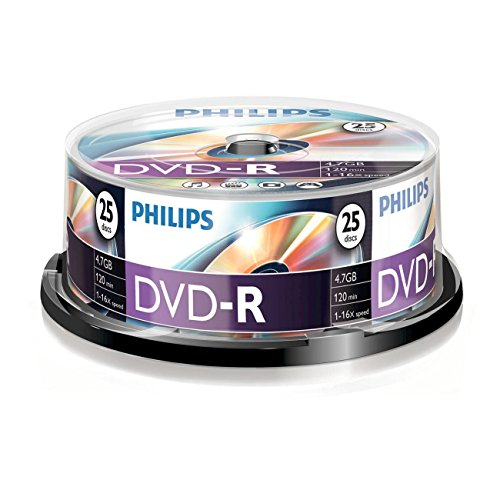 Philips DVD-R Rohlinge (4.7 GB Data/ 120 Minuten Video, 16x High Speed Aufnahme, 25er Spindel)