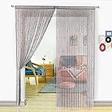 HSYLYM, Perlenvorhang für Türen, Wohnzimmer, als Raumteiler Oder Dekoration, Textil, Grau, 90x200cm