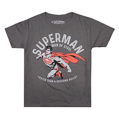 DC Comics Jungen T-Shirt Faster, Grey (Charcoal Cha), 9-10 Jahre (Comics Dc Kinder)
