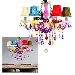 LeMeiZhiJia 6 Flammig Kronleuchter Bunt Vintage Modern Lüster Deckenleuchte  Pendelleuchte Kristall Mit Leuchte Lampenschirm