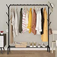 Garment Rack Bedroom Clothing Coat Racks Hanger Free-Standing Clothes Rack with Top Rod,Lower Storage and 8 Ho