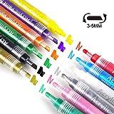 BOJECHER Acryl Marker Stifte 12 Farben Art Permanent Paint Marker Pens 2 In 1 Stiftkopf für Malerei auf Stein,Osterei,Keramik,Papier,Glas,Stoff,Holz,DIY Craft Projects