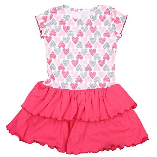 TupTam Mädchen Kurzarm Kleid mit Rüschen Sommerkleid 100% Baumwolle Outfit Bunt Gemustert, Farbe: Herzen Koralle, Größe: 92