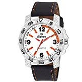 GIONEE MRT-020 Analog Dual Tone (White & Orange) Casual Wrist Watch for Men with Durable Leather Stripe.