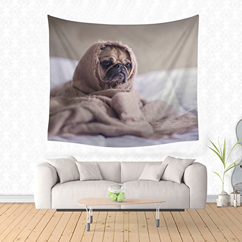 Cute Animals Wall Hanging Tapestry, Decor Tapestries, Print Painting Tapestry, Cotton Handmade Badsheet Blanket, Bedding Bedspread, Picnic Beach Sheet, Table Cloth, Decorative Wall Hanging, 59x51 Inch, By Eleoption-Puppy No.2