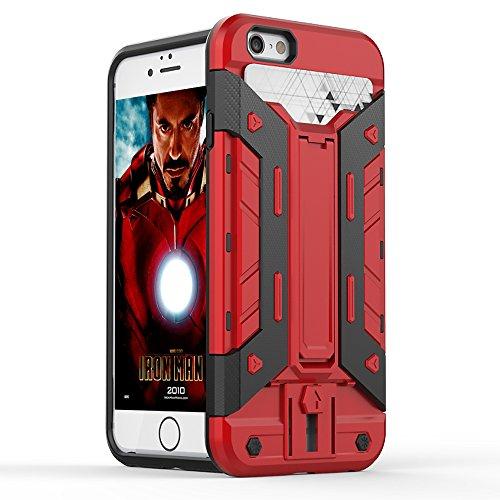 FOGEEK Schutzhülle iPhone 6 Plus Hülle : [Transformer ] Hybrid Armor Defender Case Stoßfest Schutz Tasche Schutzhülle für iPhone 6/6s Plus mit Kartenfach und Ständer-black B