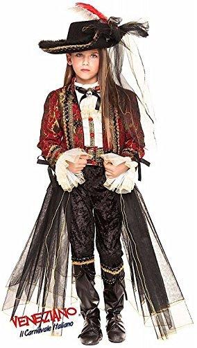 Italienische Herstellung Mädchen Luxus Piraten Halloween Karneval Kostüm Kleid Outfit 3 - 10 Jahre - 8 years