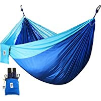 Utopia Home [2 Person] Supreme Nylon Hammock - Blue - Porch, Backyard, Indoor, Camping - Durable, Ultralight Material for Strength & Comfort with Hanging Straps (300x200 cm)