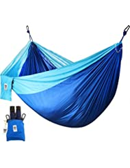 Utopia Home Supreme Nylon Hammock - Blue - Supports Up To Two People or 400 LBS - Porch, Backyard, Indoor, Camping - Durable, Ultralight Material for Strength & Comfort with Hanging Straps