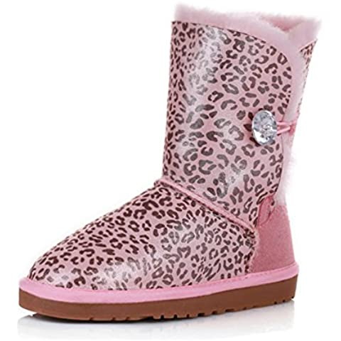Stivali di pelliccia di pecora/ tubo stivali da neve/ Signora del calda/Leopard pearlized cotone stampa (Classic Short Pelle Di Pecora)