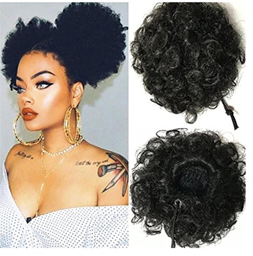 Loompa Oompa Kostüme Baby (DZW flauschige kurze Volumenperücke, Drawstring Pferdeschwanz Curly Hair Spathe, Style Auswahl , black)