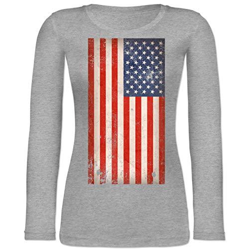 Shirtracer Länder - USA Flagge Vintage - L - Grau meliert - BCTW071 - Langarmshirt Damen -