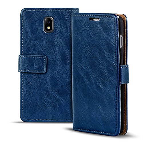 Verco Galaxy J7 (2017) Hülle, Premium Handy Schutzhülle für Samsung Galaxy J7 Hülle PU Leder Wallet Tasche Retro Flipcase, Blau