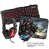 Sumvision LED Gaming Tastatur LED Gaming Maus Gaming Headset Kopfhörer Gaming Mauspad Kane Pro Edition 4 in 1 Chaos Pack Tastatur, Maus, Kopfhörer Headset und Mauspad 4 in 1 Bundle