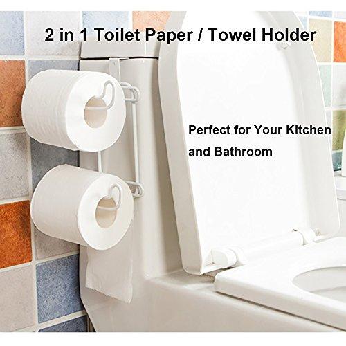 2 in 1 QRITY Toilettenpapierhalter Handtuchhalter, Tissue Rollenhalter für Bad & Küche, Eisen + Eisenmalerei, Keine Bohrung & Kein Kleber, über dem Tank