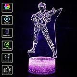 3D Visual lámpara, T-MIX 7 colores LED Lámpara de mesa táctil con control remoto para niños Cumpleaños Navidad Regalo de San Valentín (Color-B)