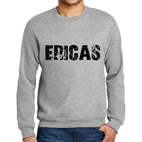 Ultrabasic Herren Grafik-Print Sweatshirt Popular Words ERICAS Grau Meliert