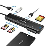 Rocketek USB 3.0 Tragbare Docking Station mit CF-Karte & SD-Karte & Micro-SD-Kartenleser & 2 Ports USB 3.0 HUB & SATA Adapter