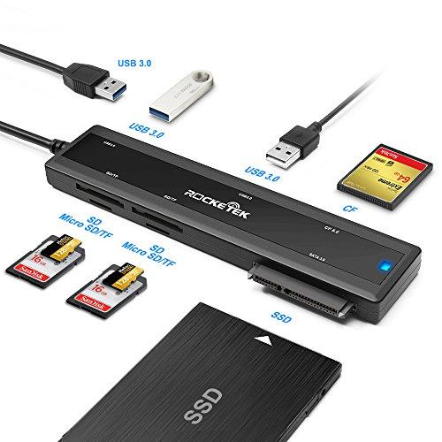 Galleria fotografica Rocketek USB 3.0 Portable docking station con scheda CF e lettore di schede SD e Micro SD Card & 2 porte USB 3.0 Hub & SATA adattatore