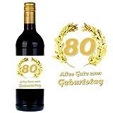 SHIRT-TO-GO Flaschenetikett zum 80. Geburtstag für Wein und Sektflaschen als Geschenkidee zum 80. Geburtstag