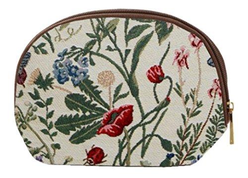 Kosmetiktasche Schminktasche 20 x 13 x 5 cm Wildblumen Blume hell im Gobelin Stil Signare Fa. Bowatex -